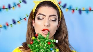 Full Face Of Makeup Using A Christmas Tree!