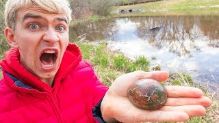 MONSTER IN POND!! (EGGS FOUND)