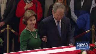 President George W. Bush and Laura Bush pay their respects (C-SPAN)