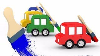 Lehrreicher Zeichentrickfilm - Die 4 kleinen Autos - Wir streichen die Garage