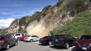 Man Captures Mountain Side Collapsing in Malibu