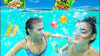 Trying SOUR CANDY Underwater Challenge!