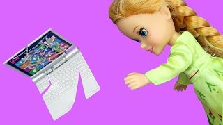 Anna BREAKS a Laptop ! Elsa & Anna toddlers visit Nikki