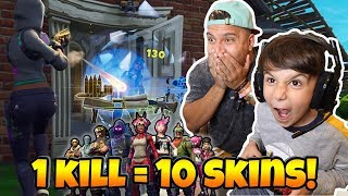 1 KILL = 10 FREE SKINS w/ 6 YEAR OLD BROTHER!! (FORTNITE BATTLE ROYALE SOLOS)
