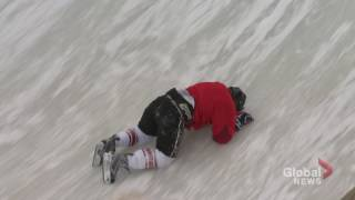 Reporter crashes and burns on Red Bull Crashed Ice track in Ottawa