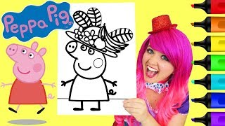 Coloring Peppa Pig Fruit Hat Coloring Book Page Prismacolor Colored Paint Markers   KiMMi THE CLOWN