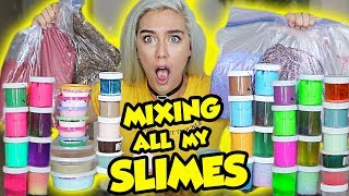 MIXING ALL MY SLIMES!! GIANT SLIME SMOOTHIE! SATISFYING SLIME