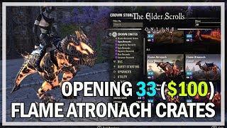 33 Flame Atronach Crown Crates Opening $100 - The Elder Scrolls Online Gameplay