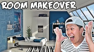 SURPRISING MY ROOMMATE WITH HIS DREAM ROOM MAKEOVER!!