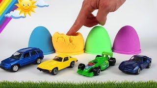 Kinetic Sand Eggs | Colors with Mini Cars for Kids | Play with Color and Toys | Videos for Children