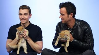 Justin Theroux & Dave Franco Play With Kittens