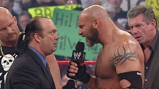 """Goldberg accidently spears """"Stone Cold"""" after brutally spearing Heyman: Raw, Feb. 9, 2004"""