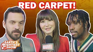 The cast of Spider-Man: Into the Spider-Verse answers our red carpet questions!