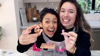 COOKING TINY FOOD WHILE CONJOINED CHALLENGE!!
