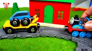 Wooden toy trains for kids Thomas and friends - Thomas the tank engine and brio trains and cars 4K