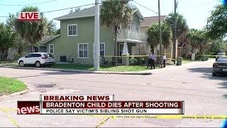 Juvenile dies after reportedly being shot by sibling in Bradenton