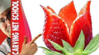 ♛ Lesson 62 - strawberry garnish, Escultura em frutas e legumes, การแกะสลักผลไม้