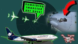 AEROMEXICO BOEING B738 IS HIT BY A DRONE while landing at Tijuana!
