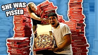 ORDERING 200 GIANT PIZZAS TO MY MOMS HOUSE PRANK (SHE FREAKS OUT)
