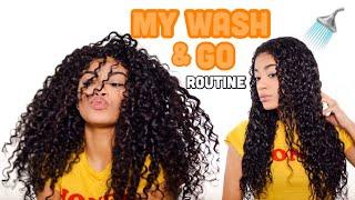 MY WASH AND GO ROUTINE! + Defined Curls   Natural Hair   jasmeannnn