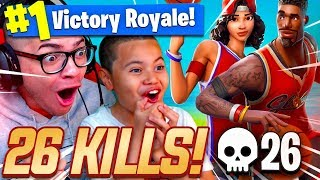 OMG *NEW* BASKETBALL SKINS ARE INSANE! 9 YEAR OLD BROTHER SO GOOD! 26 KILLS! FORTNITE BATTLE ROYALE!