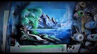 SPRAY PAINT ART by Skech - Peaceful  lake