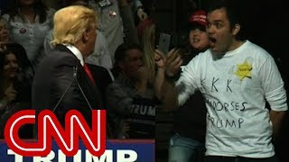 Trump stares down man in