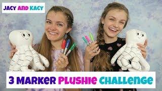 3 Marker Plushie Challenge ~ Fun DIY Doodle Plushie ~ Jacy and Kacy