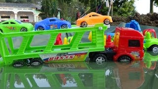Baby Studio - mother truck transport cars passing lake | trucks toy