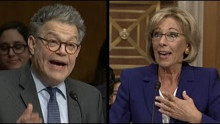 Al Franken Questions Betsy DeVos on Proficiency vs Growth   ABC News