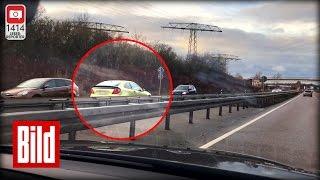 Geisterfahrer rast über B80 und kracht in einen Toyota - Mit Tempo 100 gegen den Verkehr