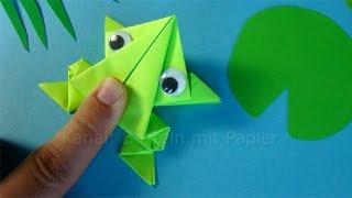 Hüpfenden Origami Frosch falten - Springenden Frosch basteln mit Papier - Tiere basteln mit Kindern