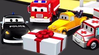 Der Streifenwagen mit dem Polizeiauto und dem Feuerwehrauto und Matts Geburtstag in Autopolis |Autos
