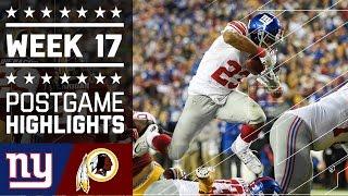 Giants vs. Redskins   NFL Week 17 Game Highlights
