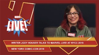 Jody Houser hangs out at Marvel LIVE to talk about the Spider-Verse at NYCC 2018!
