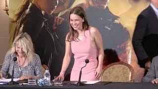 Game Of Thrones Emilia Clarke and her nipples promote Terminator Genisys in Paris