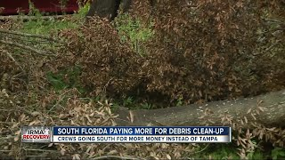 Debris pickup trucks ditch Tampa for south Florida