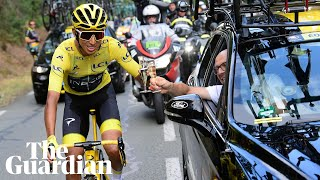 Egan Bernal celebrates with Dave Brailsford after Tour de France win