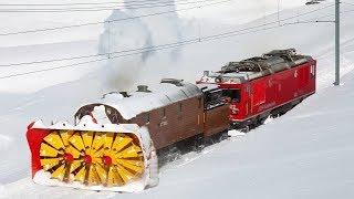 Awesome Powerful Snow Plow Train Blower Through Deep Snow railway tracks Full HD Compilation