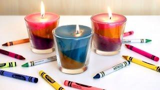 Wunderschön und kunterbunt: Kerzen aus Wachsmalstiften herstellen.