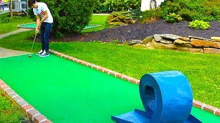 INSANE DOUBLE HOLE IN ONE! MINI GOLF: LETS PLAY FOR REAL!
