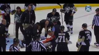 Pascal  Dupuis takes a shot to the head, would be taken off on a stretcher