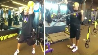 LaVar Ball Working Out At Laker
