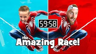 The Amazing Spider-Man Race Across the City! (DadCity vs Little Flash) | KIDCITY