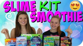 SLIME KIT SLIME SMOOTHIE || TESTING SLIME KITS || MIXING ALL MY SLIMES || Taylor and Vanessa