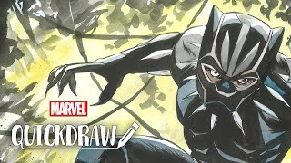 Artist Sanford Greene draws the Black Panther – Marvel Quickdraw
