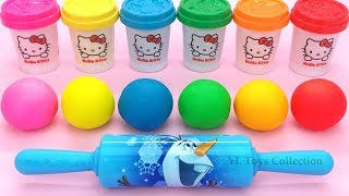 Learn Colors Hello Kitty Dough with Ocean Tools and Cookie Molds Surprise Toys Kinder Eggs