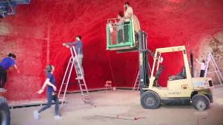 "Timelapse video of installation ""A Walk through the Line"" by Chiharu Shiota"