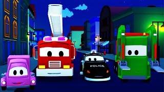 Der Streifenwagen: dem Polizeiauto und dem Feuerwehrauto und das Geheimnis in der Nacht in Autopolis