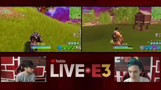 Ninja and Ali-A Play Fortnite Live in the YouTube Live at E3 2018 Studio